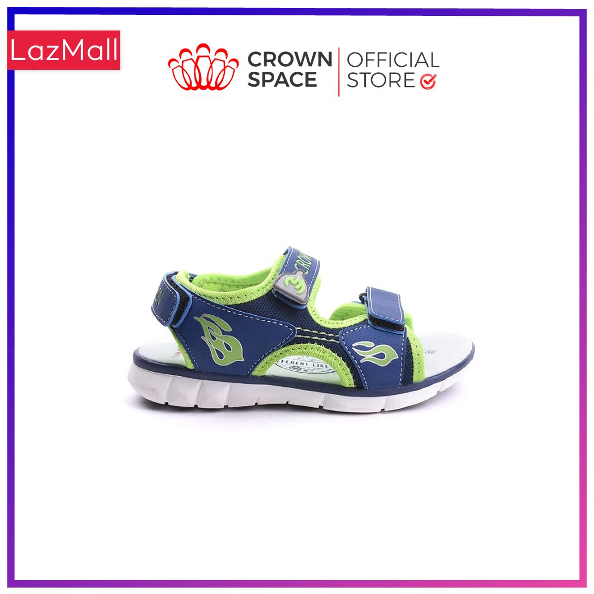 Dép Quai Hậu Bé Trai Đi Học Chính Hãng Crown Space UK Sandals Trẻ em Nam Cao Cấp CRUK535 Da Nhẹ Êm Size 26-35/2-14 Tuổi