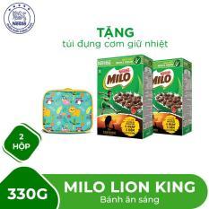 Mua 02 Hộp bánh ăn sáng Milo Lion King 330g Tặng 01 túi đựng cơm giữ nhiệt