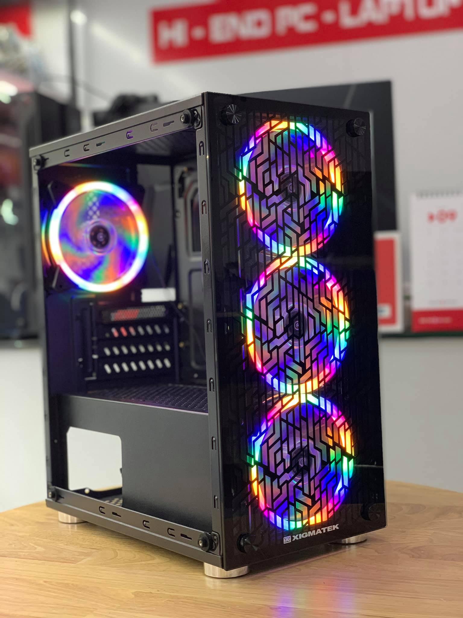 Case Xigmatek NYX M-ATX Kính Cường Lực + 4 Fan Led Dual Ring RGB 12cm