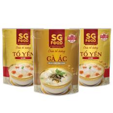 Lốc 3 (36) – Cháo bổ dưỡng SG Food 240g, 2 tổ yến cá hồi, 1 gà ác (720gr)
