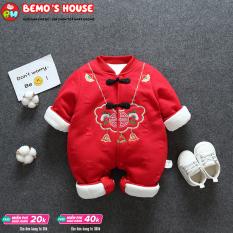 [FREESHIP MAX] Bộ áo liền quần dịp Tết Nguyên Đán dành cho bé 0-15 tháng,bé sơ sinh 5-13kg, quần áo Tết màu đỏ cho bé trai và bé gái, bodysuit 3 lớp dày dặn ấm áp