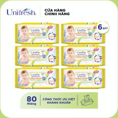 Combo 6 Khăn ướt Unifresh Vitamin E (80 miếng)