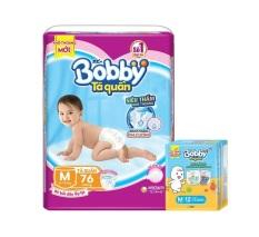 [Tặng thêm 12 miếng] Bỉm / Tã quần Bobby size M 76 siêu thấm khô thoáng (cân nặng 6-11kg)