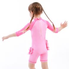 [Tặng nón chống nắng] Đồ bơi cho bé gái tay dài, chống nắng, hình hồng hạc, màu hồng, giữ nhiệt, co giãn tốt