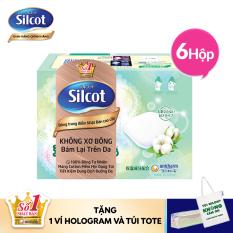 [Tặng 1 ví Hologram và túi tote] Combo 6 Hộp bông tẩy trang cao cấp Silcot Premium 66 miếng/hộp