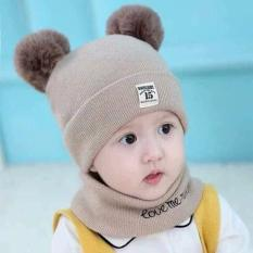 Bộ khăn + mũ len 2 quả bông cho bé MS02