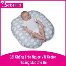 Gối chống trào ngược vải cotton thoáng mát size to cho bé nằm thoải mái