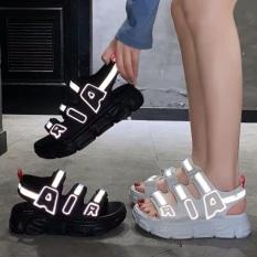 Giày sandal nữ, dép sandal nữ quai ngang chữ AIR Phản quang độn đế 5 phân, chất liệu da cao cấp siêu êm chân, dép nữ đi học Hot trend 2020