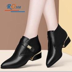 Giày bốt nữ 4cm cổ thấp hàng hiệu Rosata boot nữ RO308