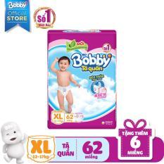 [MỚI] Tã quần Bobby (hương trà xanh) gói siêu lớn XL-62 miếng (12 – 17kg) – Tặng thêm 6 miếng cùng size
