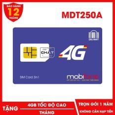 Sim 4G Mobifone MDT250A Miễn Phí 1 Năm Không Cần Nạp Tiền Tặng 4GB / Tháng Mua về dung ngay – Dâu Mart