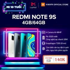 GIÁ HỦY DIỆT – Điện thoại Xiaomi Redmi Note 9S 4GB/64G – Snapdragon 8 nhân 720G, Màn hình 6.67 inches, Pin khủng 5020mAh sạc nhanh 18W, 4 Camera 48MP/8MP/5MP/2MP góc siêu rộng – BH CHÍNH HÃNG 18 tháng