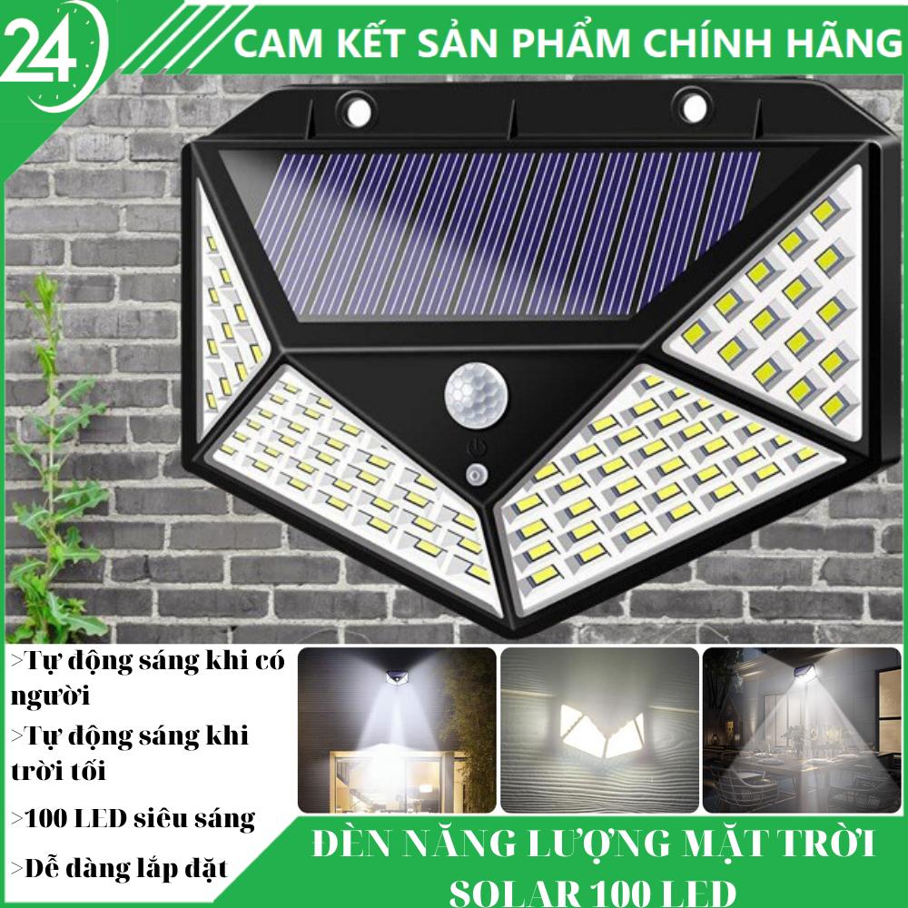 Đèn Năng Lượng Mặt Trời Solar 100 Led – Tự động sáng khi trời tối, tự động sáng khi có người đến gần, chống nước chống bụi chuẩn IP66 ,sử dụng 6 tiếng, ánh sáng tỏa đều với 100 bóng led