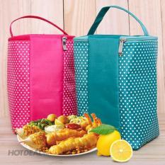 Túi giữ nhiệt đựng hộp cơm loại lớn kích thước 25 × 15 × 13cm túi rộng đựng được 3 hộp cơm chất liệu bên ngoài vải dù, bên trong lớp giữ nhiệt