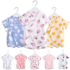 Body yukata cotton ngắn tay cho bé trai bé gái 0-12 tháng Hàng Quảng châu xuất Nhật (áo liền quần, bodysuit cho bé) TTS400