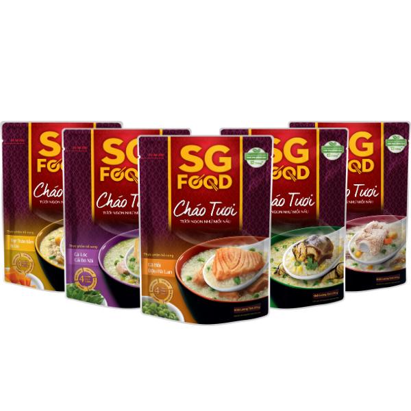 Lốc 5 (51) - Cháo tươi SG Food 270g, thịt bằm, sườn non, lươn, cá lóc, cá hồi (1350gr)