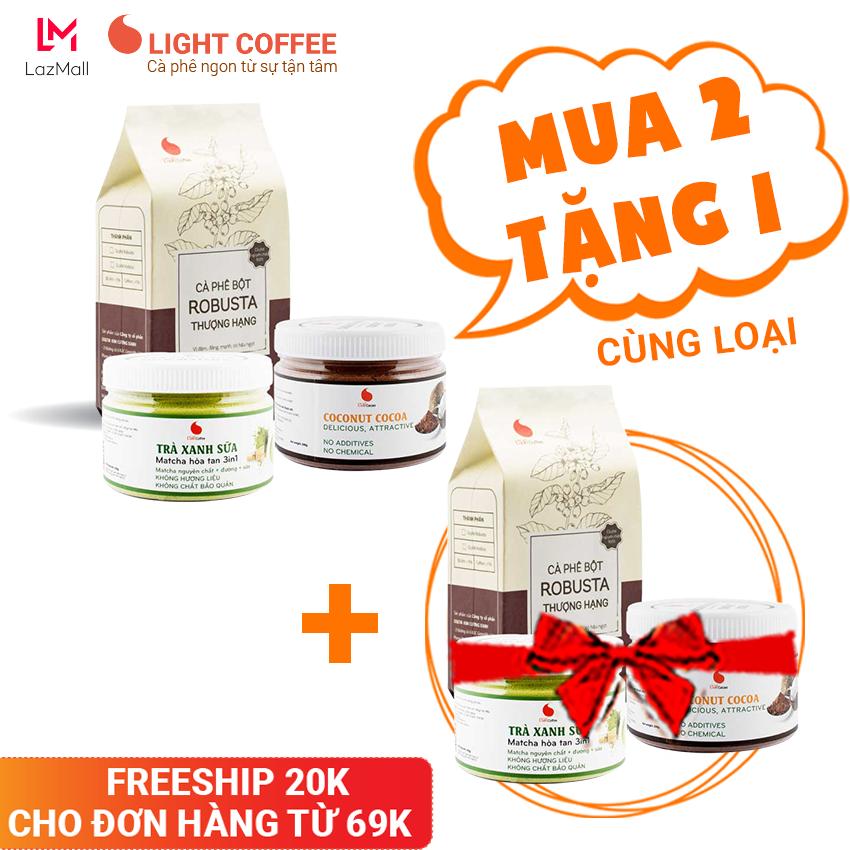[MUA 2 TẶNG 1] Combo tiết kiệm 6, cà phê Thượng hạng 100g, cacao sữa dừa hũ 230g, bột trà xanh sữa hũ 230g – Light Coffee