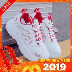Giày sneaker nữ thể thao phối sóng màu Bi Shop (Trắng phối đen & Trắng phối đỏ)