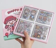 Bộ 1000 sticker dễ thương dán trang trí sổ. điện thoại. cốc , laptop .. có hộp đựng đi kèm ( 1000 Sticker nằm trong 100 tấm ô vuông)