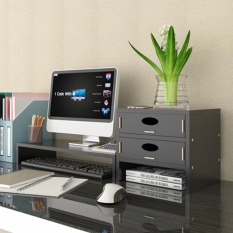 Kệ gỗ để sách và để máy tính Kệ kê màn hình máy tính tặng giá đỡ điện thoại đa năng