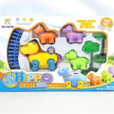 Bộ đồ chơi đường ray xe lửa hình chú hà mã bằng nhựa dùng pin cho bé – 3327B- Thị trấn đồ chơi