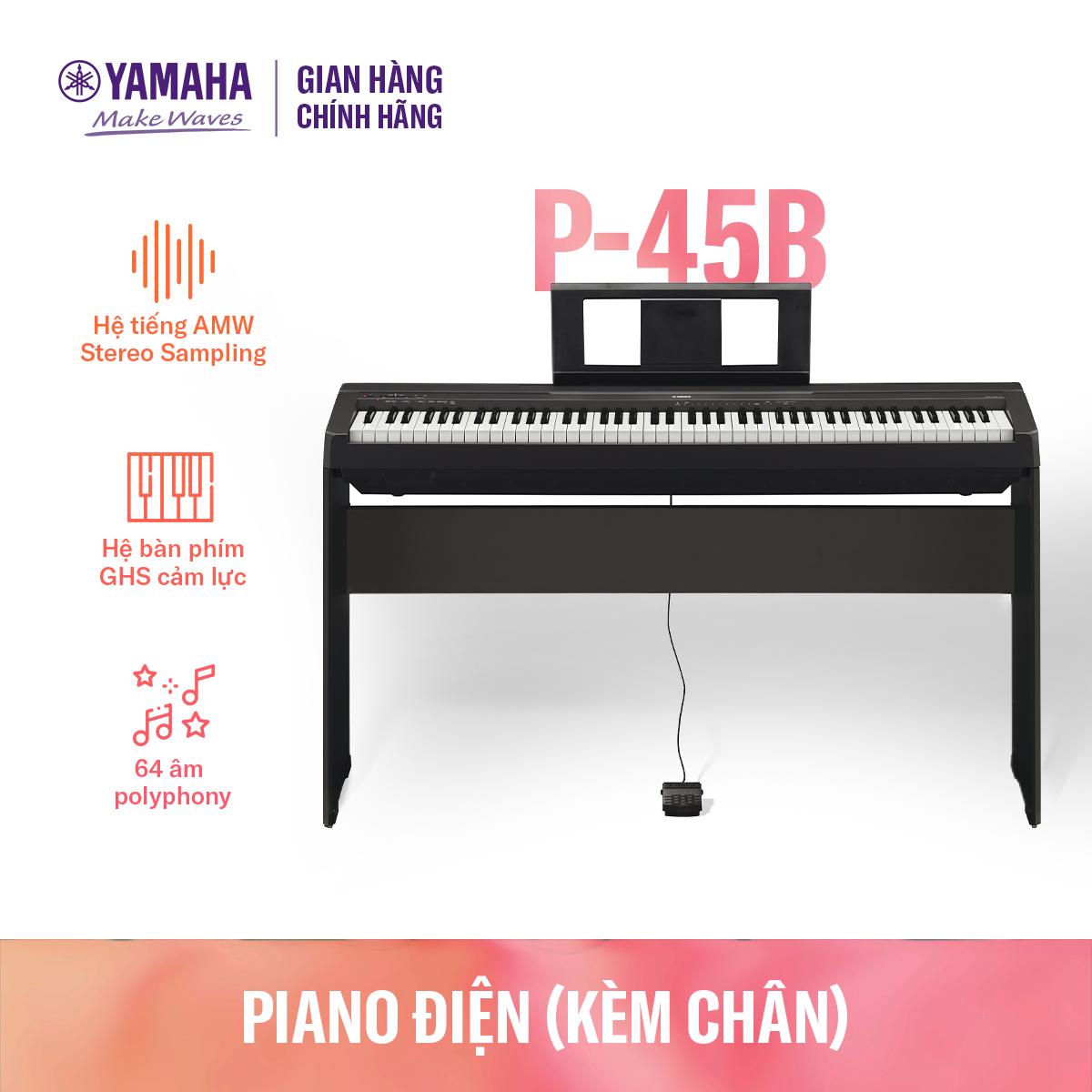 [Trả góp 0%] Đàn piano điện tử Yamaha P-45 kèm chân – thiết kế nhỏ gọn và tinh tế – Âm thanh đàn cơ sống động – Tính năng dễ sử dụng – Bảo hành chính hãng 12 tháng
