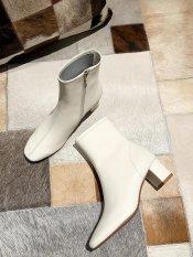 (Bảo hành 12 tháng) Giày boot nữ cổ cao thời trang gót vuông cao cấp – Giày gót vuông nữ cao 5cm – Giày nữ da mềm 2 màu Trắng kem và Đen – Mall LN227