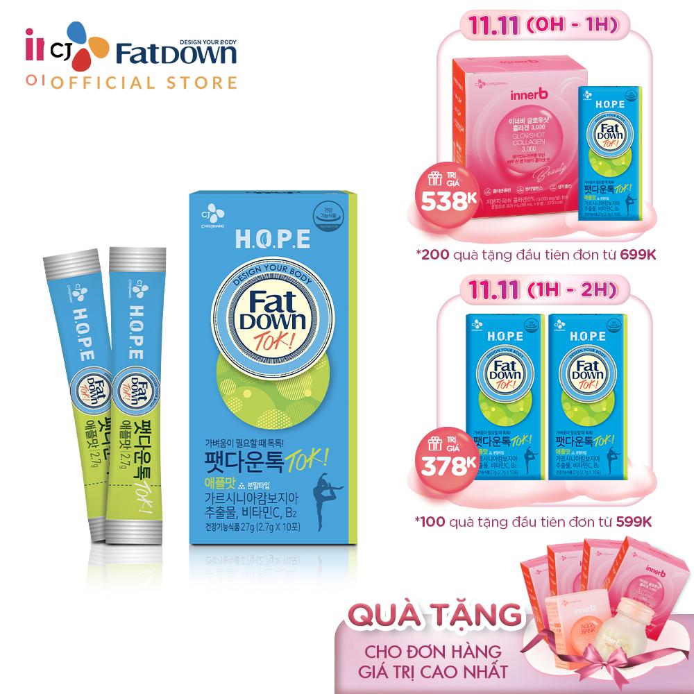 Thực phẩm bảo vệ sức khỏe CJ FATDOWN TOKTOK APPLE hỗ trợ chuyển hóa chất béo (2.7g x 10)
