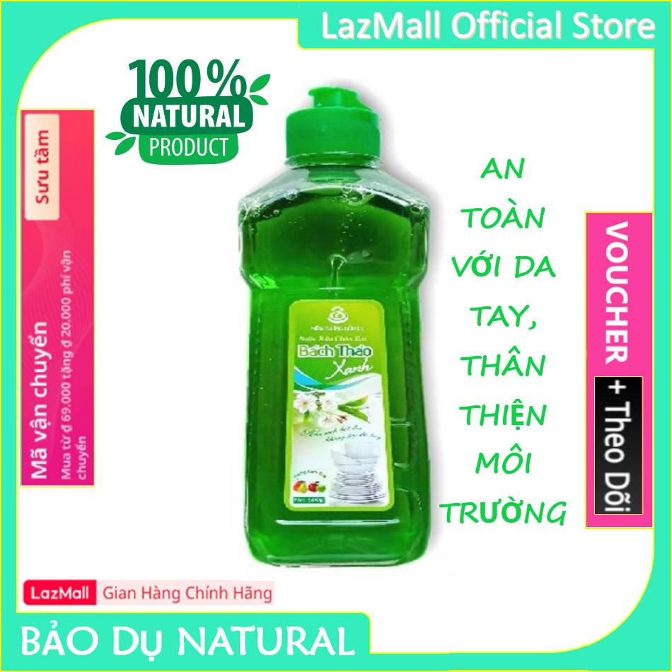 [BÁN CHẠY] Nước rửa chén Bách Thảo Xanh hương táo chiết xuất thiên nhiên không hại da tay – Chai 500g – Hàng Chính Hãng