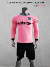 Bộ quần áo bóng đá CLB BARCA Tay Dài màu HỒNG đồ đá banh mới 2020-2021
