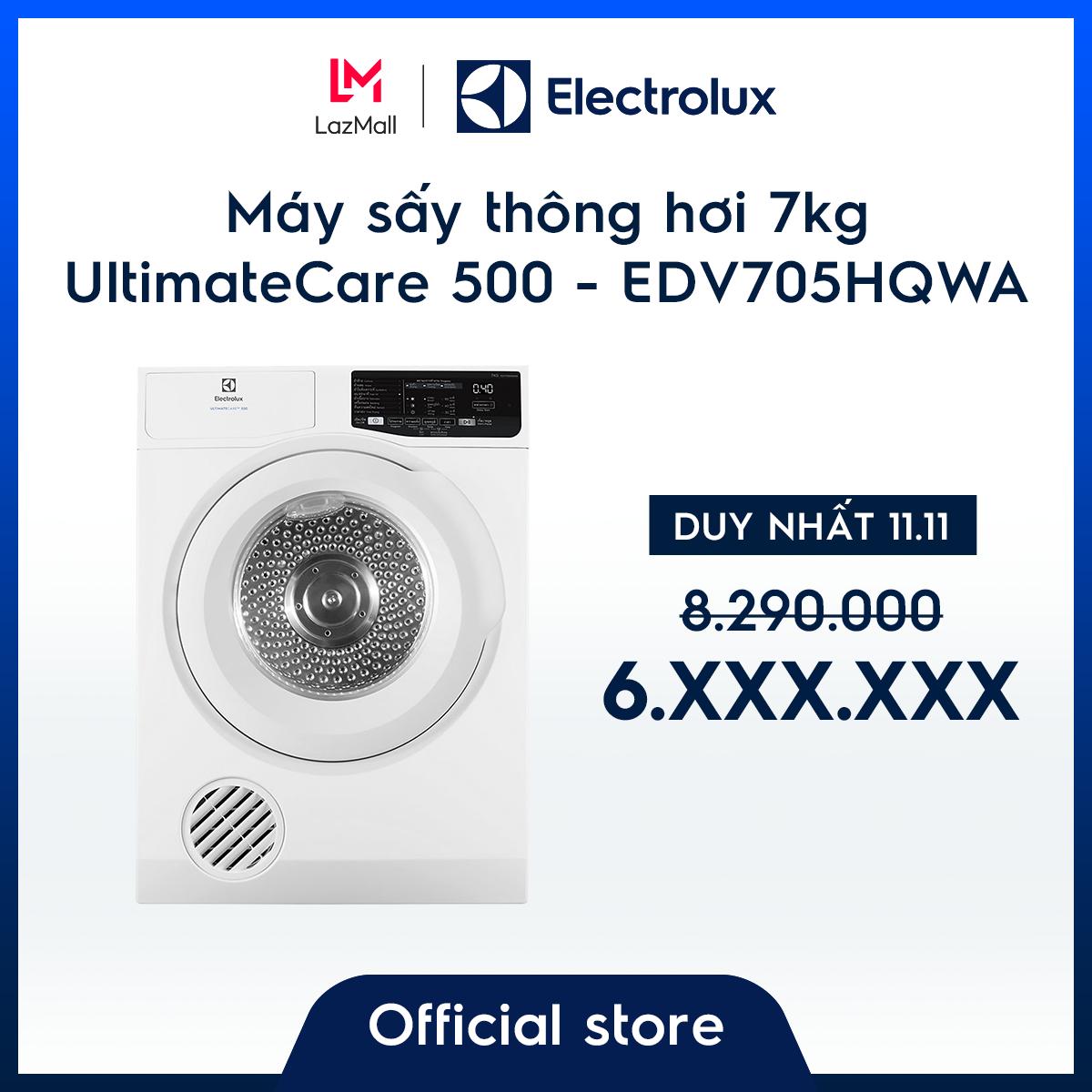 [Miễn phí công lắp đặt – Giao hàng HCM & HN] Máy sấy thông hơi Electrolux 7kg UltimateCare 500 EDV705HQWA – Màu Trắng –