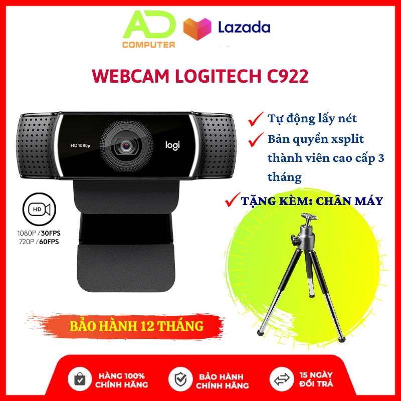 [Trả góp 0%] Webcam Logitech C922 Full HD 1080p kèm chân cắm Tripod Chuyên dụng cho LiveStream – BH Chính hãng 12 Tháng