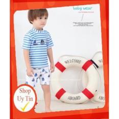 [Lấy mã giảm thêm 30%]✅ Bộ đồ bơi kèm Mũ cao cấp dành cho bé trai áo kẻ xanh hoạ tiết con thuyền
