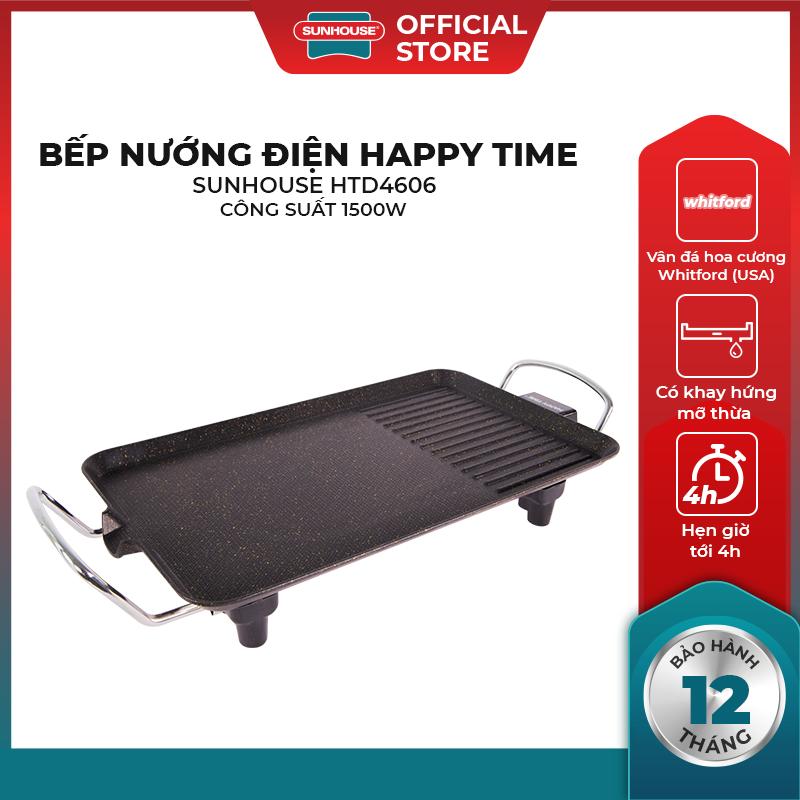 Bếp nướng điện SUNHOUSE Happy Time HTD4606 - Mặt chống dính - Không Khói - Thiết kế gọn nhẹ dễ...