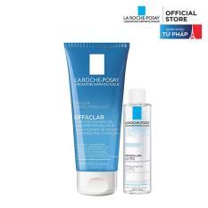 Sữa rửa mặt tạo bọt làm sạch dành cho da dầu nhạy cảm La Roche-Posay Effaclar Gel For Oily Sensitive Skin 200ml + Tặng Tẩy trang dành cho da dầu mụn Micellar water 50ml