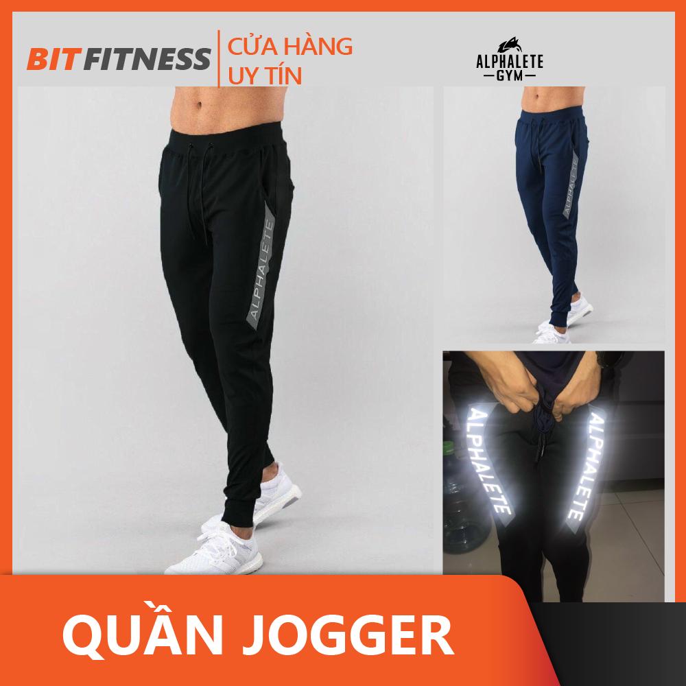 Quần Tập Gym Nam – Quần Jogger Gym ALPHALETE vải poly 2 da cao cấp, logo phản quang – BiT Fitness