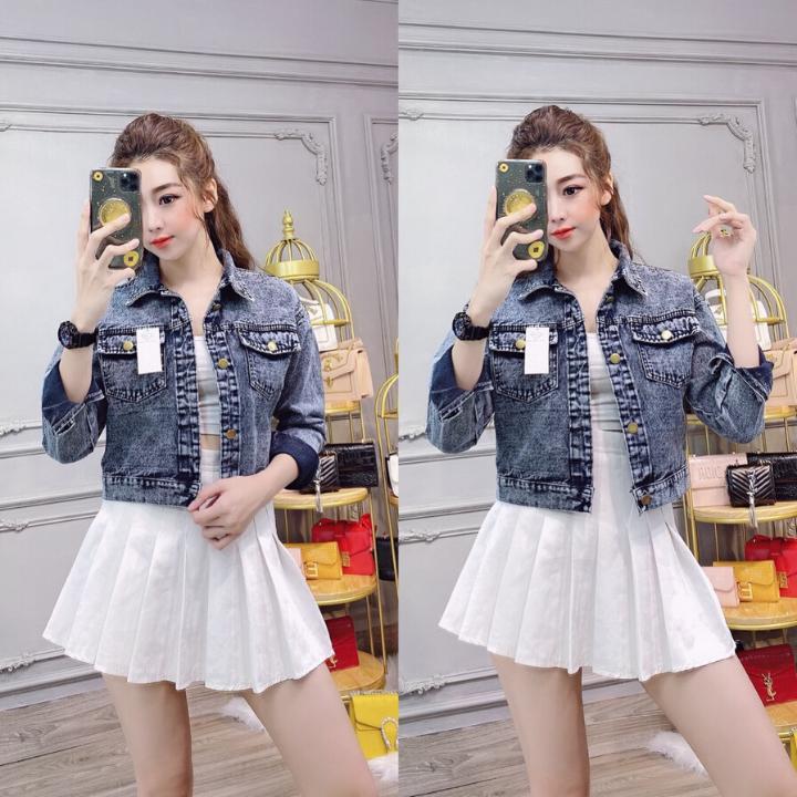 Áo Khoác jean Nữ form croptop Cao Cấp màu đen xám chuột Dày Mịn túi hộp Thời Trang 2020-Hàng Có Sẵn
