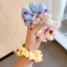 Dây buộc tóc scrunchies Dâu tây Hàn Quốc cute vải hoa quả nhiều màu dễ thương CT6