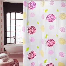 Rèm phòng tắm nhựa PEVA kèm 12 móc treo 180cm x 180cm HOA ĐỎ