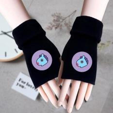 Găng tay len hở ngón in hình BTS CHIBI Tata Mang Chimmy RJ Koya Cooky Shooky Van idol kpop thời trang dễ thương