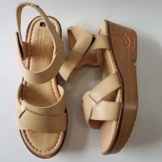 Giày Sandal Đế Xuồng Nữ BIGBEN Da Bò Thật Cao Cấp