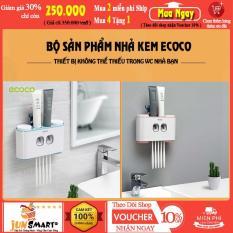 [ Trọn bộ 4 món ] Bộ nhả kem Ecoco đa năng E 1802   Nhả kem – đựng bàn chải – cốc – kệ để đồ tiện dụng – DBC-1254