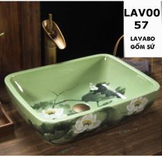 Chậu rửa lavabo LAV0057 gốm sứ men xanh cao cấp – Họa tiết hoa sen trắng trang nhã