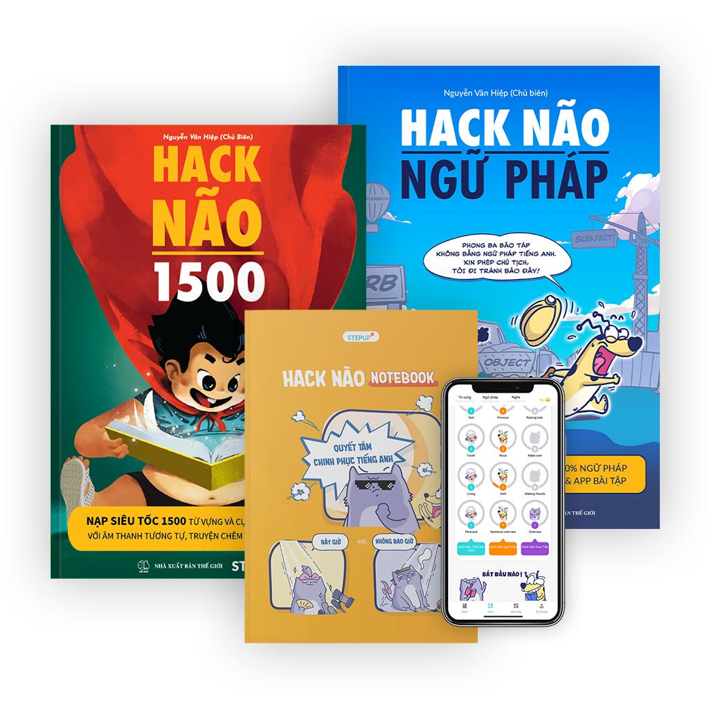 Combo 2 sách Hack Não 1500 + Hack Não Ngữ Pháp + Sổ tay Hack Não Notebook hữu ích – Tặng App học phát âm và ngữ pháp miễn phí, giú bạn làm chủ từ vựng và nắm chắc ngữ pháp tiếng Anh chỉ sau 2 tháng