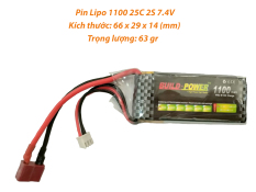 [HCM]Pin Lipo 1100 MAh 7.4V 25C 2S dùng cho đồ chơi công nghệ cao Buil Power