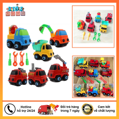 [COMBO 6 XE] Xe đồ chơi bộ 6 xe xây dựng loại lớn, kèm bộ đồ sửa chữa siêu dễ thương. giúp bé tăng khả năng vận động sáng tạo