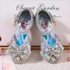 Giày công chúa Elsa bé gái cao gót khoét eo nơ xinh từ 3 – 12 tuổi