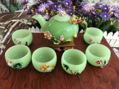 Bộ ấm trà chạm hoa sen đá ngọc cẩm thạch xanh