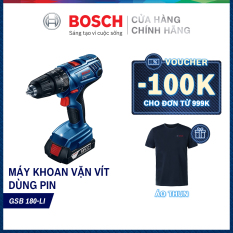 Máy khoan vặn vít động lực dùng pin cầm tay Bosch GSB 180-LI + phụ kiện MỚI