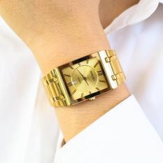 Đồng hồ Nam mặt vuông halei dây vàng mặt vàng có lịch tặng vòng tì hưu